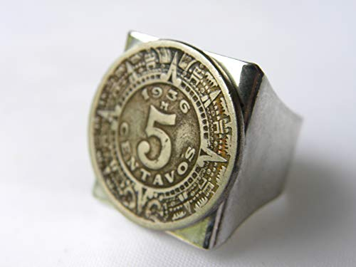 Vintage authentic Mexican coin various available years 1936 or 1937 or 1938 or 1940 or 1942 Aztec calendar Men adjustable signet ring
