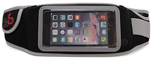 Sport Hüfttasche von Sports Drob - Running Belt zum Verstauen von 5 Zoll Handys (Iphone 6), Schlüssel & Geld - Laufgürtel mit 100% Lebenslanger Garantie - Ideal zum Joggen, Wandern & Reisen (Schwarz)