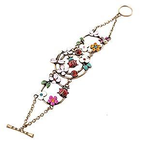 niceeshop(TM) Vintage Colorful Flowers Bracelet with Dragonfly (Bronze)