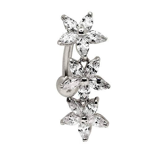 - JewelryWeb Solid 14k Yellow or White Gold Marquise Flower Cubic Zirconia CZ Top Mount Belly Button Ring Dangle (7mm x 24mm) (White-Gold)