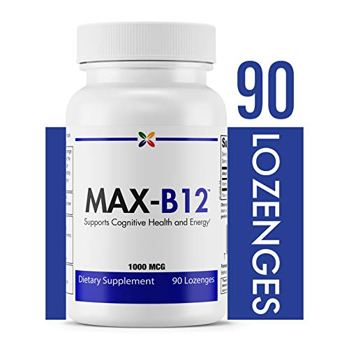 Stop Aging Now  MAX-B12™ Vitamin B12 Lozenges 1000 MCG (B12WPT)  Supports Cognitive Health and Energy  90 Lozenges - B-12 Sublingual Dots