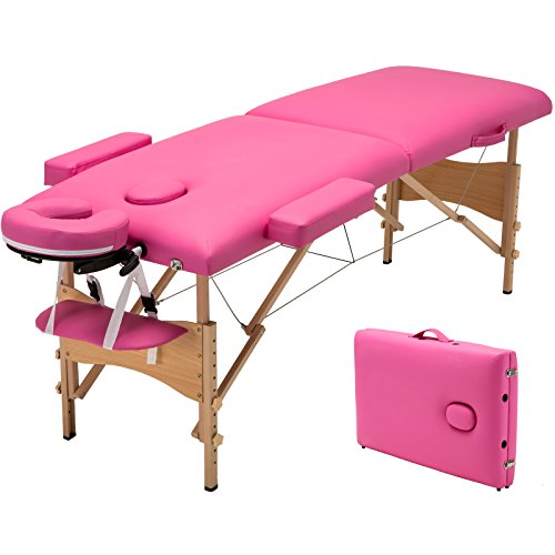 Uenjoy Folding Massage Table 84'' Professional Massage Bed With Carrying Bag Pink