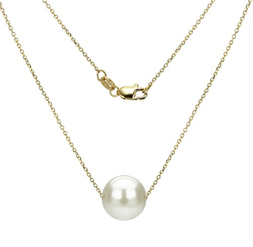 La Regis Jewelry 18k Yellow Gold Chain Necklace with 10-10.5mm White Freshwater Cultured Pearl Floating Pendant, - Pearl Gold Pendant 18k