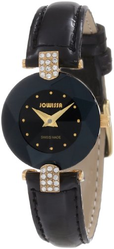 Jowissa Women's J5.007.S Facet Strass Gold PVD Dimensional Glass Black Leather Rhinestone Watch ()