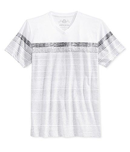 American Rag Mens Stripe Basic T-Shirt, Grey, X-Small