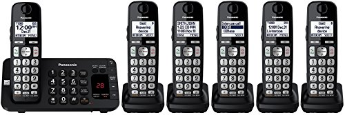(Panasonic KX-TGE445B / KX-TG3645B plus one KX-TGEA40B handset (6 Handsets Total) Cordless Phone with Answering Machine- 5 Handsets (Certified Refurbished))