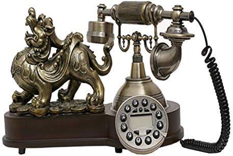 樹脂模造銅レトロな昔ながらのロータリーダイヤル アンティーク電話ソリッドウッド製電話レトロ電話動物の装飾古代の固定電話