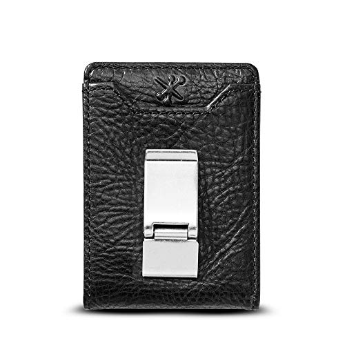HOJ Co. DEACON ID BIFOLD Front Pocket Wallet-Full Grain Leather-Bifold Money Clip Wallet (Black Natural Grain)