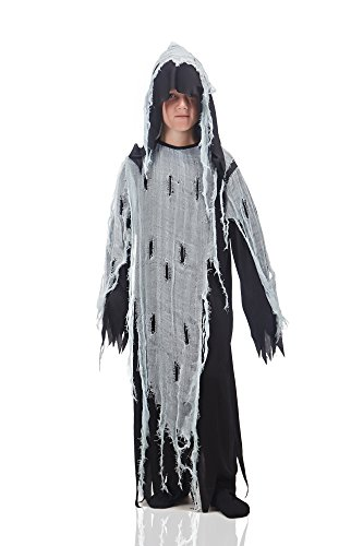 Kids Boys Spooky Ghost Costume Zombie Evil Spirit Robe Midnight Ghoul Dress Up (6-8 years, (Disfraces De Fantasmas Para Halloween)