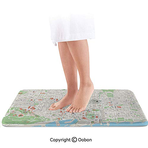 - Map Bath Mat,Map of Barcelona City Streets Parks Subdistricts Points of Interests Decorative,Plush Bathroom Decor Mat with Non Slip Backing,24 X 17 Inches,Beige Lime Green Light Blue