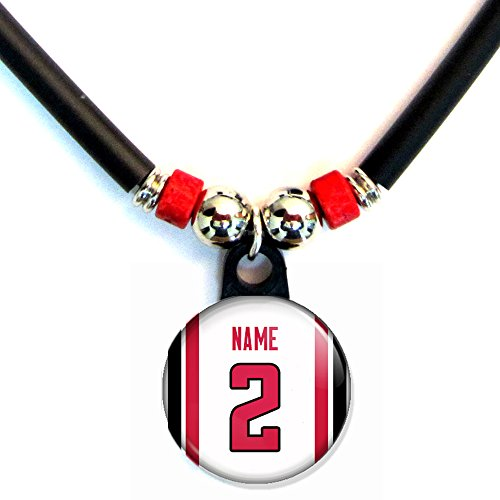 Atlanta Falcons Pins - SpotlightJewels Atlanta Football Jersey Pin back Button Necklace Personalized with Your Name and Number