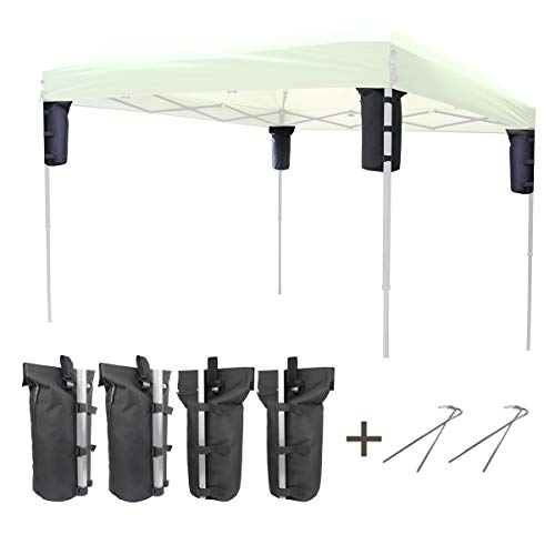 Explore Land Weight Bag for Portable Pop-up Canopy Tent Gazebo Outdoor Up to 30 lb, Without Sand 4, Black