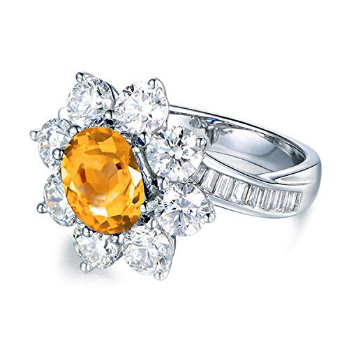 Aokarry - Womens Cz Sterling Silver Engagement Ringsanniversary Rings Yellow Created-Citrine November Birthstone Size 8