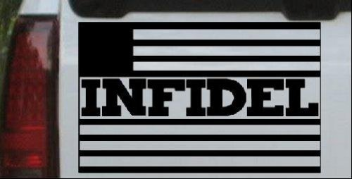 Infidel With Us Flag Military Decal Sticker Black   Die Cut Decal Bumper Sticker For Windows  Cars  Trucks  Laptops  Etc