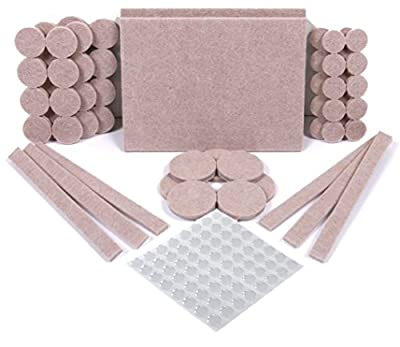 SIMALA Furniture Pads 124 Pack – 60 Felt Pads Beige, Premium Heavy Duty Self Stick Furniture Feet To Protect Flooring and Furniture From Scratches. Plus 64 Noise Dampening Clear Rubber Bumper Pads