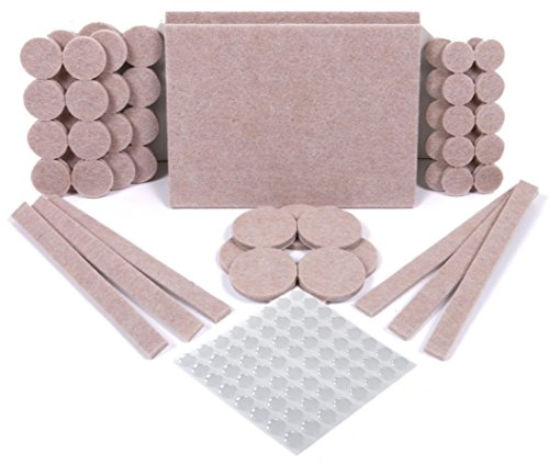 Furniture Pads 124 Pack - Chair Leg Floor Protectors, 60 Felt Furniture Pads & 64 Clear Bumper Pads. Felt Pads with Strong Adhesion, 5mm Thick Furniture Felt Pads for Increased Durability