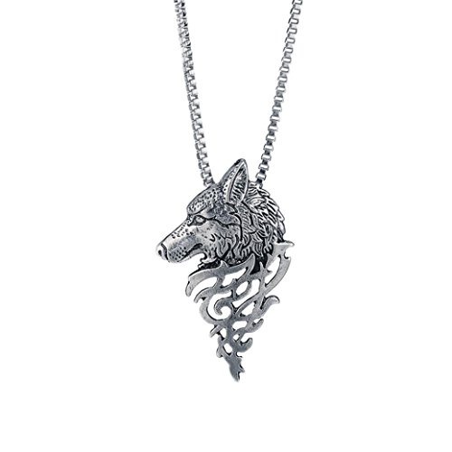 (Alloy Pendant Necklace Gift Wolf Head Shape Fashion Jewelry Besooly (Silver))