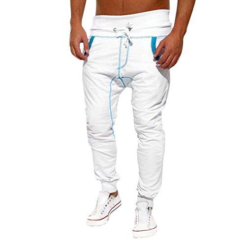 Men Casual Jogger Pants,Lelili Fashion Stripe Printed Drawsting High Waist Baggy Harem Pants Slacks Trousers (XL(Asian XL=US L), White)