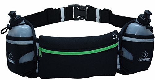 Gel Flask Holder (FITOREX Hydration Running Belt with Water Bottles included (2 x 10oz) | A Bounce-free & lightweight neoprene waist belt | Large Pouch for plus size smartphones including iPhone 8 Plus)