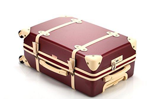 70ecc34668f Ambassador Luggage Vintage Fashion Polycarbonate Spinner Suitcase 25 Inch  Medium Trip Burgundy