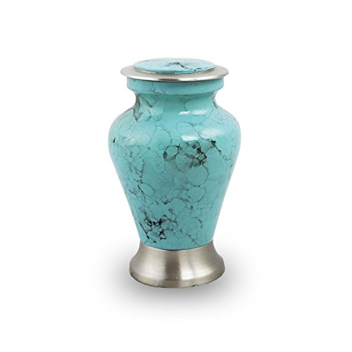 OneWorld Memorials Glenwood Marble Bronze Keepsake Urns - Extra Small - Holds Up to 5 Cubic Inches of Ashes - Turquoise Blue Cremation Urn for Ashes