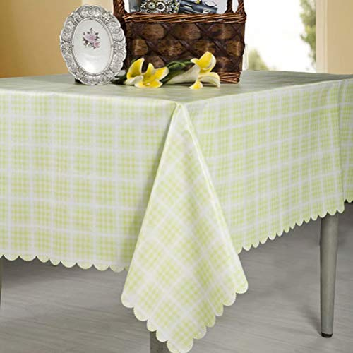 Green Woven Fabric - Tablecloth Rectangle Wipe Clean Table Cover Waterproof Stain Resistant Oil Proof Spill Proof Heavy Weight PVC Non-woven Fabric Tablecloths for Outdoor Indoor Kitchen Picnic(Green Plaid 60x96)