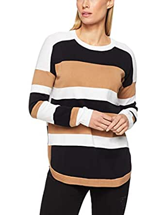 French Connection Women's Summer Varsity, Tan/Black/Summer White, Extra Small