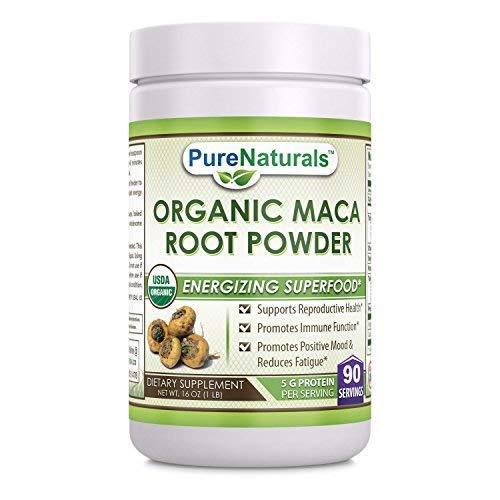 (Pure Naturals USDA Certified Organic Maca Root Powder- 16 oz (1 lb)- GMO Free- Supports Healthy Mood, Hormonal Balance, Cardiovascular Health & Immune Health)