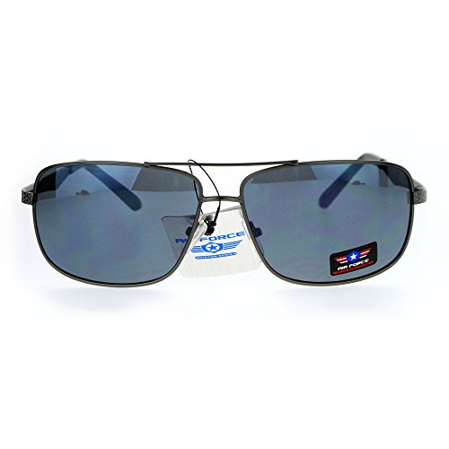 Air Force Narrow Rectangular Aviator Police Style Sunglasses Gunmetal - Sunglass Police