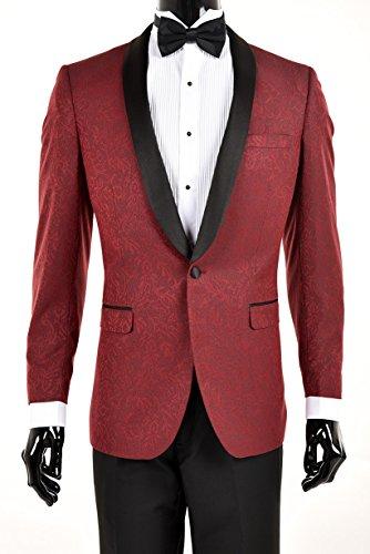 King Formal Wear Premium Slim Fit Tuxedo Blazers-Dinner Jackets (42 Short, Burgundy With Black) Burgundy Tuxedo