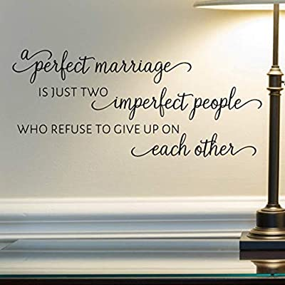 "A Perfect Marriage Wall Decal, Married Quote Wall Décor, 24""x11"" Black, Husband and Wife Stickers"
