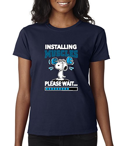 - New Way 433 - Women's T-Shirt Installing Muscles Please Wait Snoopy Peanuts Workout Training Gym Small Navy