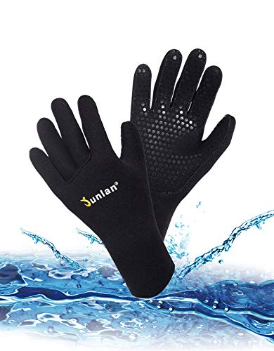 Junlan Neoprene Diving Gloves, Wetsuits Glove for Snorkeling, Kayaking, Water Jet Skiing, Sailing, Scuba Diving, Rafting (Black, M/L) ()