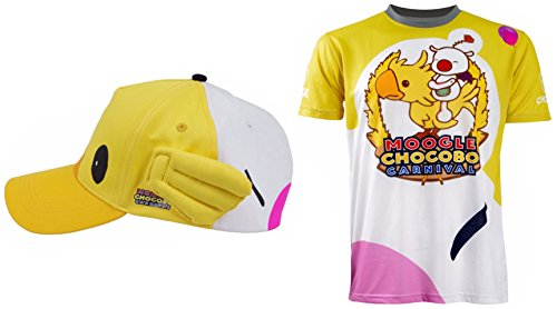 - Moogle Chocobo T-shirt Short Shirt Cosplay Costume Hat Baseball Cap (Medium, T-shirt with Hat)