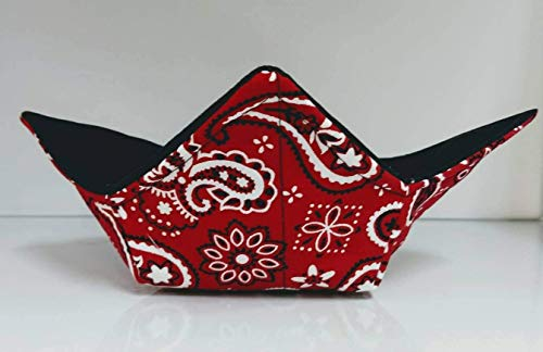 (Red Bandana quilted cotton reversible microwavable soup bowl holder or cozy)