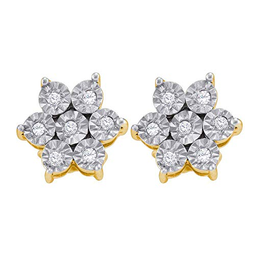 The Diamond Deal Yellow-tone Sterling Silver Womens Round Diamond Illusion Flower Cluster Earrings 1/8 Cttw ()