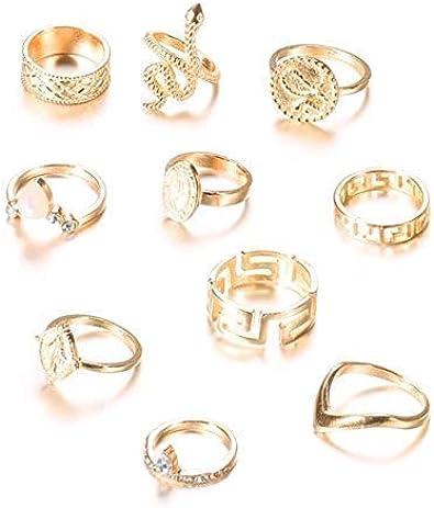 Esecondary – Juego de 10 anillos de serpiente vintage con piedras preciosas de oro para mujeres y niñas