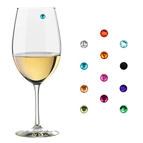 Elegant Multicolor crystal Magnetic Wine Glass Charms Glass Markers that Work on Stemless Glasses for Champagne, Wine, Beer and Cocktail Glasses.