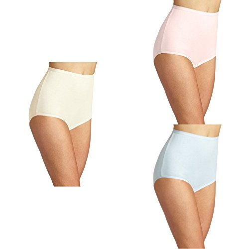 Vanity Fair Women's Perfectly Yours Tailored Cotton Brief Panty 15318, Candleglow/Ballet Pink/Sachet Blue, 2X-Large/9