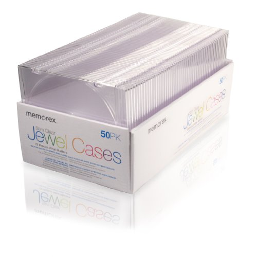Cases Book Fold Cd Case (Memorex 5mm Slim CD/DVD Jewel Cases - 50 Pack - Clear)