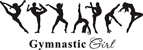 Removable Vinyl Wall Decal Stickers Gymnastics Girl Sign Ballet Dancer Yoga Dacing Wall Decal Home Decoration KW-336 (Black)