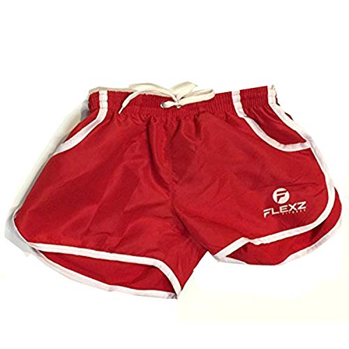 (Flexz Fitness Men's Gym Shorts, Bodybuilding, Workouts & Beach, Red, Size Small)