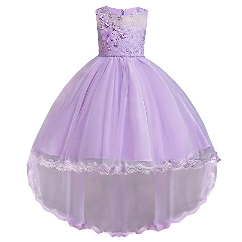 HUANQIUE Pageant Party Dresses Hi-Low Lace Flower Girl Dress Purple 7-8 Years ()