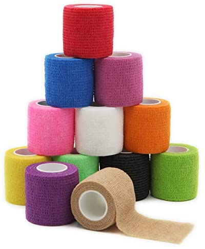 First Aid Self Adherent Cohesive Bandages, First Aid Tape Cohesive Wrap Bandage, Colorful Bandages(2 inches x 5 Yards,12 Packs,Colorful)
