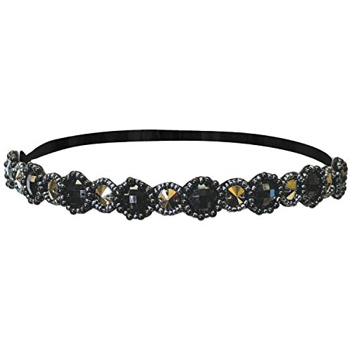 - Mia Fashion Headband Embellished Hair Accessory, Black + Gunmetal Round Metallic Stones + Beads, Velvet Lining, Elastic Rubber Band, for Women and Girls 1pc