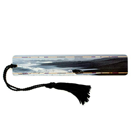Wooden Bookmark with Color Photography by Mike DeCesare - Beach Scene, California Coast - Search B0799RZL4S to See Personalized Version. (Beach Rules Bookmark)