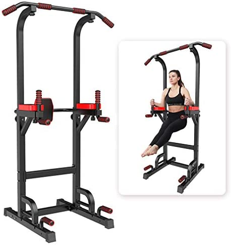 YOKELE Power Tower Workout Dip Station for Home Gym Adjustable Multi Pull Up Bar Strength Training Equipment & 400LBS