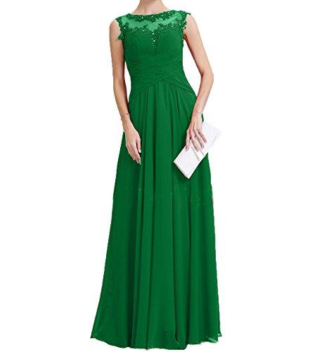 Grün Brautmutterkleider Langes Promkleider Spitze Applikation Neu Damen Charmant Partykleider mit Chiffon Abendkleider nwgafqHA
