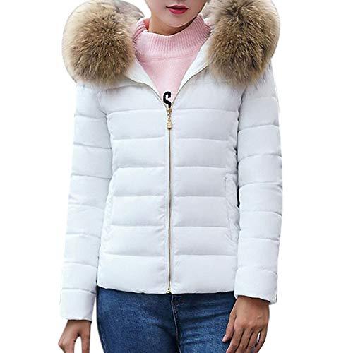 (JESPER Fashion Solid Women Casual Thicker Winter Slim Puffer Coat Overcoat White)