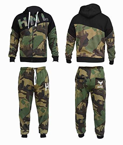 (FLIRTY WARDROBE Mens HNL Tracksuit Joggers Hoodie Sweatshirt Pants Sweats Bottoms Plus Size UK [841 Camouflage/Green L])